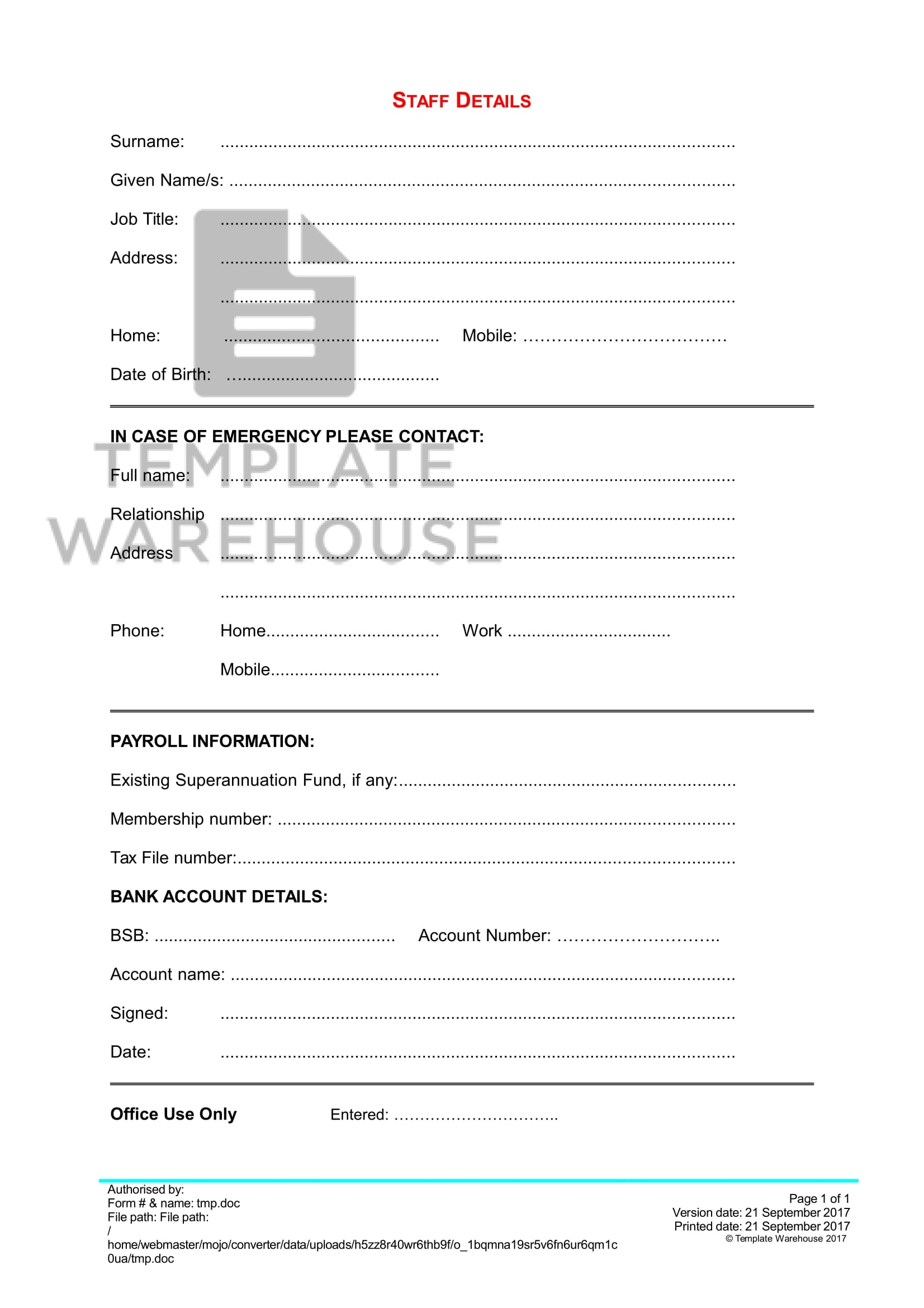 HRM-01-004 Staff Details Form – Template Warehouse