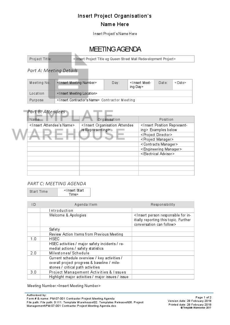 Pm 07 001 Contractor Project Meeting Agenda Template Warehouse