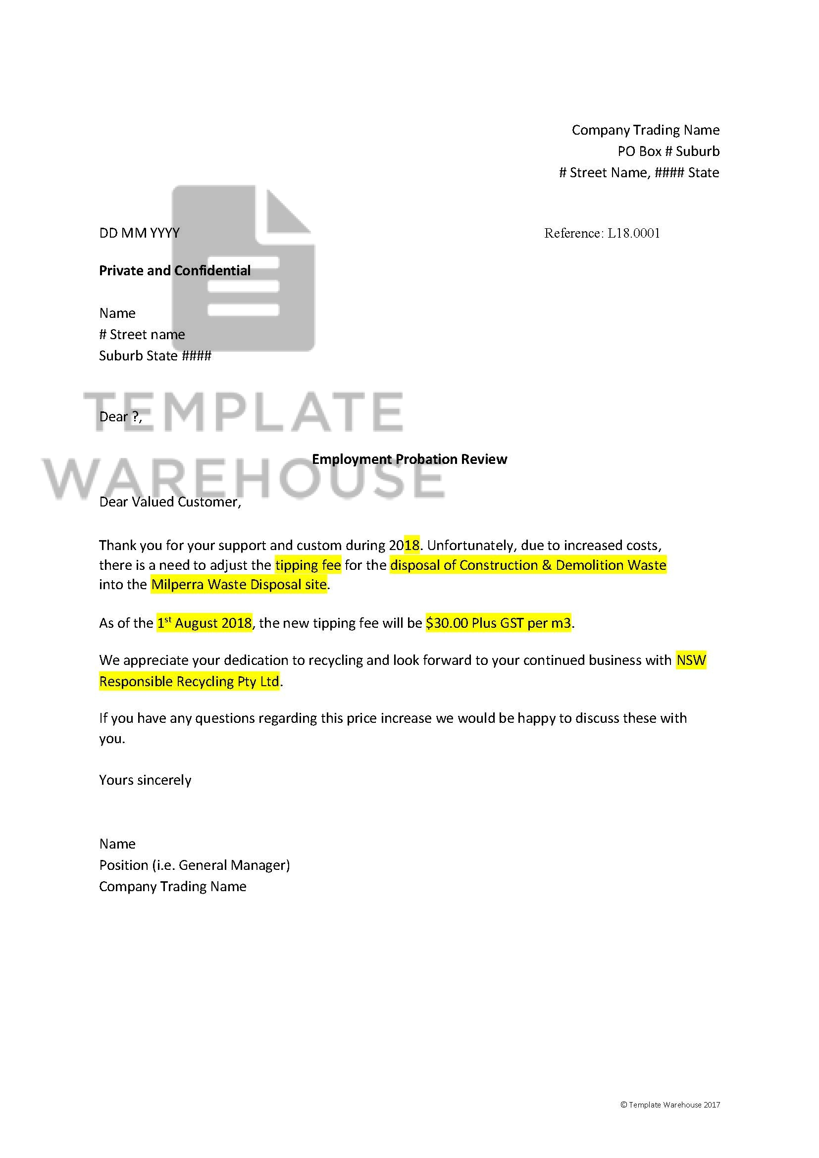 Sample Price Increase Letter To Customers from www.templatewarehouse.com.au