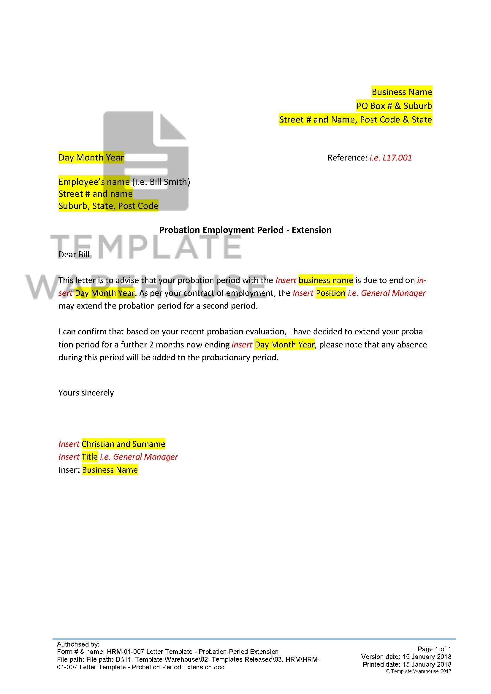 Extension Letter Sample from www.templatewarehouse.com.au
