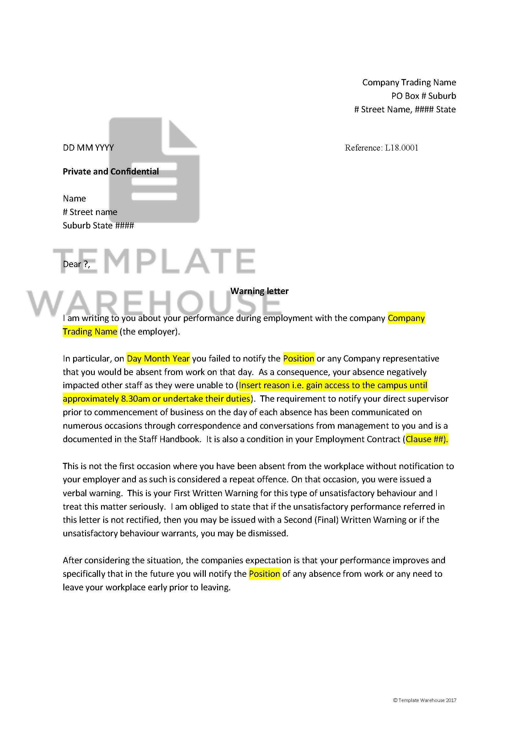 HRM-03-004 – Employee Warning Letter – Template Warehouse on confidential letter of interest, confidential cover letter, confidential fax cover sheet template,