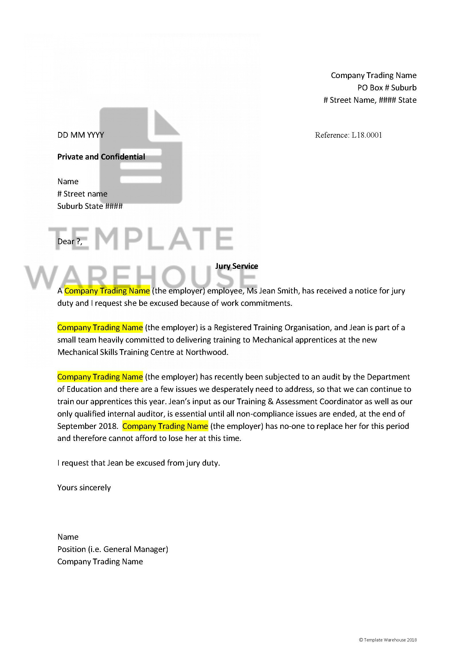 Jury Duty Student Excuse Letter Sample from www.templatewarehouse.com.au