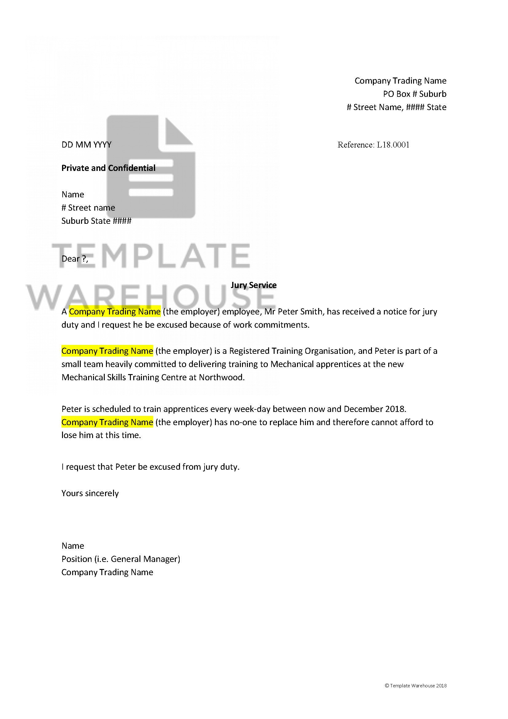 Sample Letter To Get Out Of Jury Duty From Employer from www.templatewarehouse.com.au